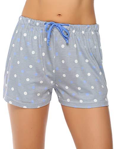 Hawiton Pijama Pantalon Corto Mujer Verano de Algodón Pantalones de Dormir de Lunares