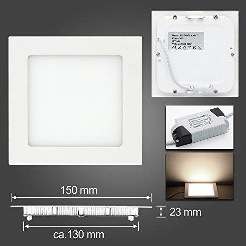 LED Panel Leuchte, Dimmbar 9W 700lm 150x150mm Kaltweiß Einbaustrahler Deckenleuchte 3-Jahre Garantie Quadrat 6000K, ersetzt 30W Leuchtstoffröhre, Lochgröße:130~140mm -