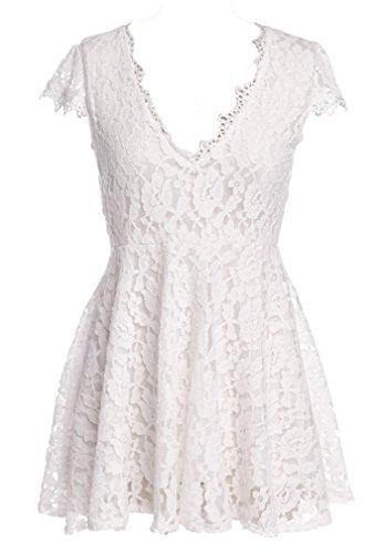 ACVIP Damen Spitze V-Ausschnitt Minikleid Kurzarm Sommerkleid Blumen Muster Strandkleid Weiß