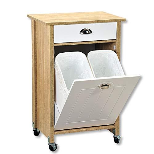 KESPER 2550813 Küchenwagen mit Mülltrennsystem, Abdeckplatte mit Dekorfolie Sonoma Eiche, Front weiß lackiert