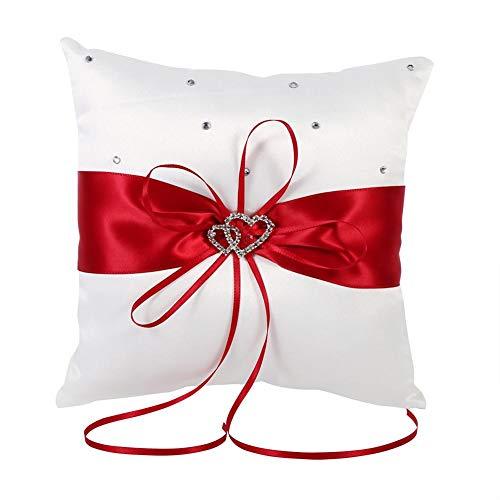 Braut Hochzeits Ringkissen Taschen Kissen Träger Mit Doppelten Herzen Dekoration, Elfenbein-Weiß / Rot / Blau / Lila 20cm × 20cm ( Farbe : Rot )