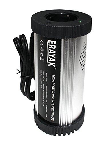 ERAYAK 150W auto wechselrichter-cup TÜV Zertifiziert,dc12v auf ac230v Konverter mit EU Buchse, 2.1A USB & zigarettenanzünder - kabel, Spanungwandler für laptops, dvd, musikspieler, handys, tablets-8083Y
