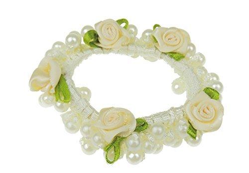 Mesdames filles Motif floral imitation perles de mariée demoiselle d'honneur Accessoires cheveux Chouchou