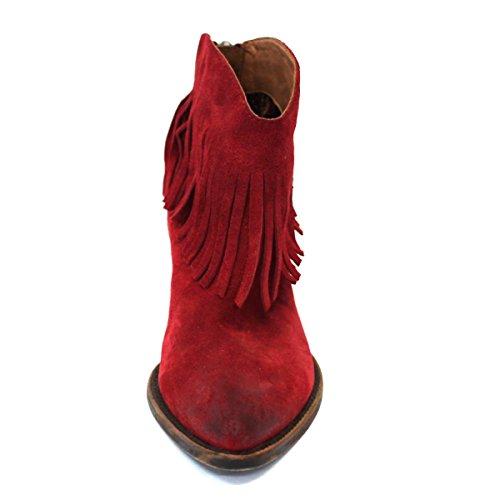 Lucky marchio basso-tallone frangia colore cowboy stivali, taglia 3, da £114 Viola (rosso)