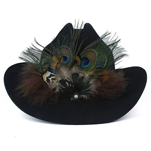 Meipa-Zeit 100% Wolle Frauen Westerly Cowboy Hut Lady Black Cowgirl Fedora Jazz Hut Sombrero Hombre Rettungsschwimmer Sonnenhüte Größe 57-59CM Mit Pfauenfeder (Farbe : Nature, Größe : 56-58CM) (Black Womens Cowboy-hut)