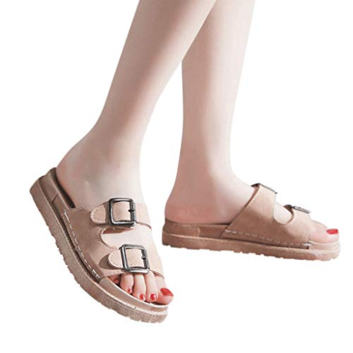 Beaulies Women''s Cork Sandals Adjustable Leather Strap Buckle Slippers Soft Platform Footbed Clogs Shoes Arizona Open Toe Slip On Flats Slippers Slides Shoes Double Buckle Sandals (Beige) - Arizona Soft Footbed Sandals