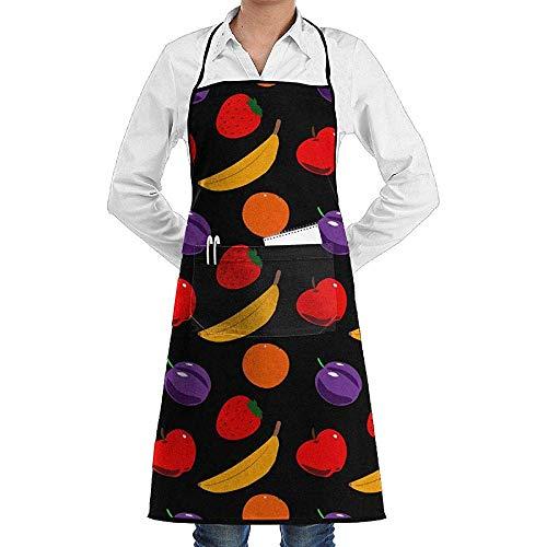 Wirt Weihnachts Kostüm - UQ Galaxy Kochschürze,Obst Muster Schürze Spitze Unisex Chef einstellbar Lange voll schwarz Kochen Küchenschürzen Lätzchen Taschen Restaurant Backen basteln Garten BBQ Grill