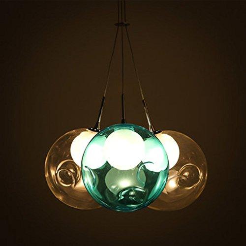 Glasmalerei Deckenleuchte (CUICAN Glasmalerei Kronleuchter Kreativ Modern Bubble ball Pendelleuchte Wohnzimmer Esszimmer Kinderzimmer Leuchte-B)