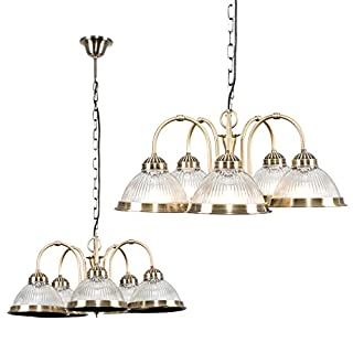 Traditional American Diner Style 5 Way Antique Brass & Clear Glass Drop Down Ceiling Light Fitting