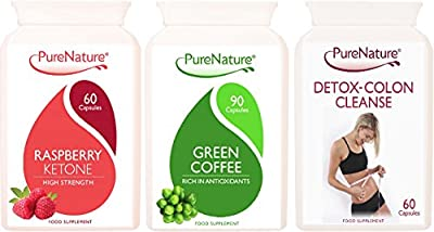 Pure Raspberry Ketones, Pure Green Coffee Bean & Detox Colon Cleanse Multi Pack Suitable for Vegetarians 1 Month Supply PureNature FREE UK Delivery from Distributed by Be-Beautiful-Online