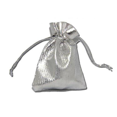 Geschenkverpackung Säckchen Beutel Schmuck-Verpackung 10 Stück SIlber 7x9 cm mit Doppeltunnel-Zugband Weihnachten Geburtstag