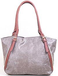 Hopping Street Grey Faux Leather Women Handbag