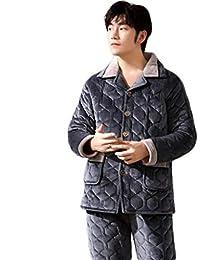 PFSYR Pijamas de Invierno para Hombre, Ropa para el hogar Abrigada de Espesar Acolchada,