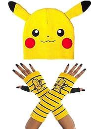Pokemon Bonnet and Gants Set Pikachu Face Nouveau Officiel Nintendo 5601c155a1f