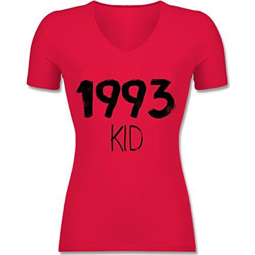 Geburtstag - 1993 KID - Tailliertes T-Shirt mit V-Ausschnitt für Frauen Rot