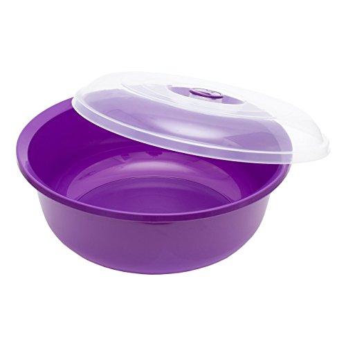 Rührschüssel 15 Liter . Teigschüssel mit Deckel und Griff . Kunststoff Farbe violett Durchmesser 42 cm