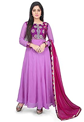 Utsav Fashion Woven Yoke Georgette Abaya Style Suit in Purple