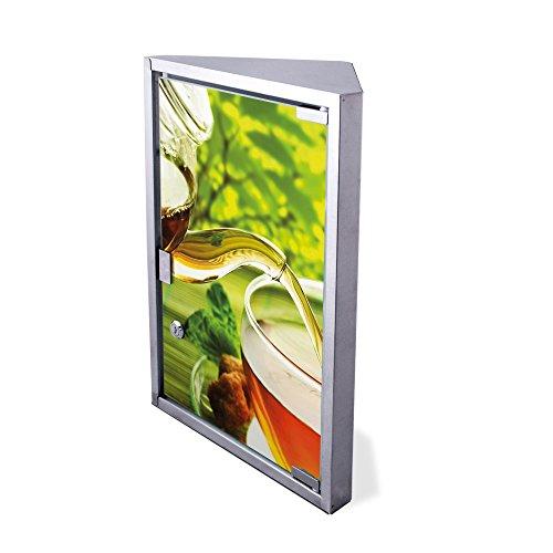 Edelstahl Medizinschrank Eckschrank abschließbar 30x17,5x45cm Badschrank Hausapotheke Arzneischrank Bad Teestunde (Grüner Tee-möbel)
