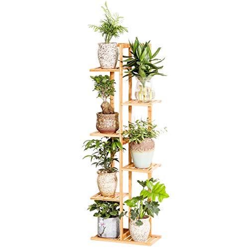 Bambus-Blumenständer, mehrere Blumentöpfe, Regal für drinnen und draußen 6-tier nature