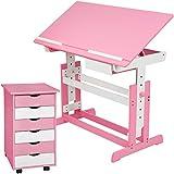 TecTake Kinderschreibtisch mit Rollcontainer Schreibtisch neig- & höhenverstellbar -diverse Farben- (Pink)