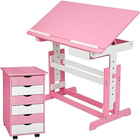 TecTake Kinderschreibtisch mit Rollcontainer Schreibtisch neig- & höhenverstellbar rosa / weiß