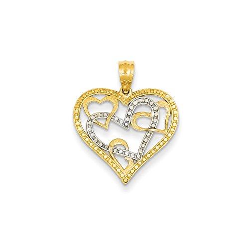 IceCarats Designer Jewellery 14K Rhodium D/C Heart Pendant