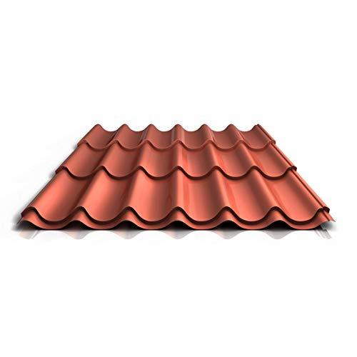 Pfannenblech | Ziegelblech | Dachziegelblech | Profil PS47/1060RTA | Material Stahl | Stärke 0,50 mm | Beschichtung 35 µm | Farbe Ziegelrot