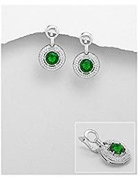 BrendaStyle Bijoux Boucles d'Oreilles Pour Femme En Argent 925/1000 Rhodié Avec Zirconium vert