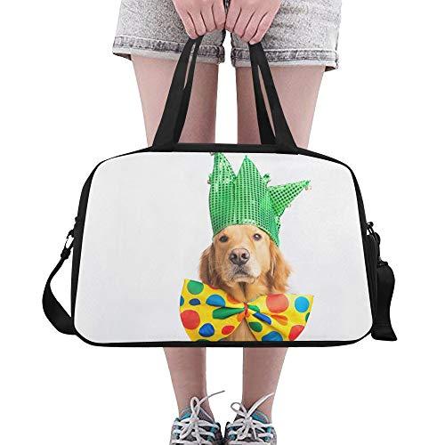 Cute Happy Dog Wear Krawatte Große Yoga Gym Totes Fitness Handtaschen Reise Seesäcke Schultergurt Schuhtasche Für Übung Sport Gepäck Für Mädchen Männer Frauen Im Freien