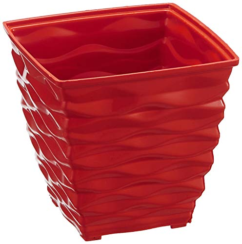 Klassic Plastic Square Planter Set (Small, Red, Pack of 6)