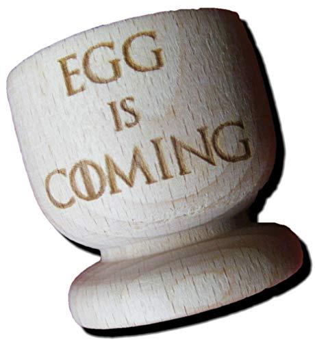 FastCraft Eierbecher, Motiv Game of Thrones, inspiriertes Ei is Coming, aus Holz, zum Einwärmen von Häusern, Geschenk-Fan, Geburtstagsgeschenk, Eierbecher, 2er-Set