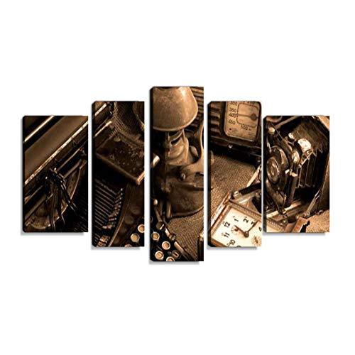 Inbel Kunst Vintage Stillleben Wandbilder abstrakt Leinwandbild Digitalkunstdruck leinwanddrucke Eigenes Design Gemälde Wanddekoration mit Holzrahmen 5-teilig
