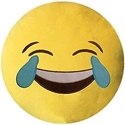 Healthy Clubs Sonreír Emoji Emoticon Cojín Decoración Sofá Juguete de Peluche (Sonrisa de Gafas de Sol) (Ojos de llorar y de risa)