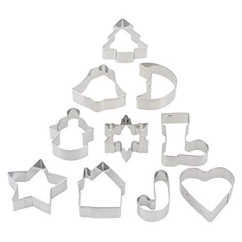 10-teiliges Set Ausstechformen Weihnachtsbaum Stern Haus Glöckchen Schneeflocke Keks Backgeschirr Werkzeug Edelstahl