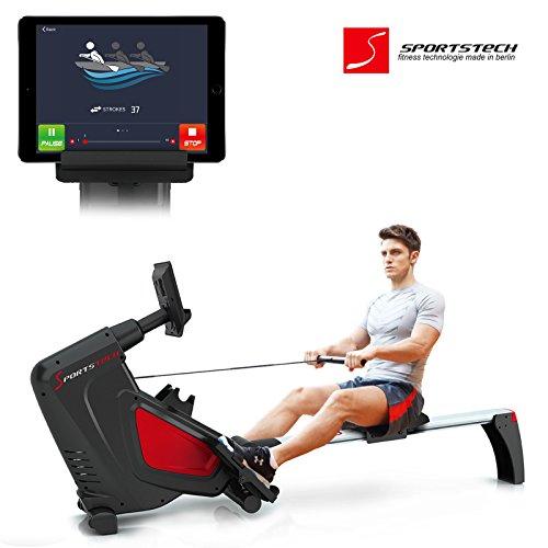 Sportstech Rameur RSX500 ergomètre air + freins magnétiques, ceinture cardio optionnelle, poids d'inertie 7 kg, applications fitness, 16 programmes d'entraînement, mode de compétition, pliable