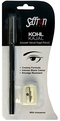 Saffron Bleistift Augenpartie–Khol Kajal schwarz Intense mit einem Spitzer–Formel cremig resistent der Ausbringung