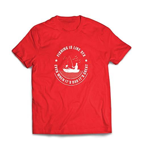 lepni.me Männer T-Shirt Fischen ist großartig, lustige Hobbykleidung für Fischliebhaber (XX-Large Rot Mehrfarben)