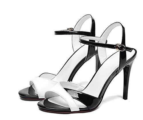 Beauqueen Pumps Sandalen Open-toe Knöchelriemen Casual Work Sandalen Frauen Elegant White Red Europa Größe 34-39 White
