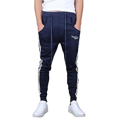 Minetom Pantaloni da Jogging da Uomo sportivi Casual Sarouel danza Pantaloni in esecuzione ( Marina EU S )