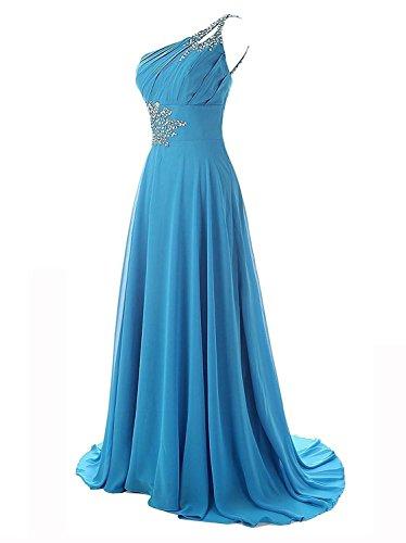 Carnivalprom Damen Chiffon Abendkleider Lange Elegant Eine Schulter Brautjunferkleider Ballkleid Perlen Partykleid Violett