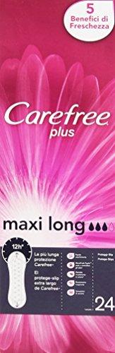 Carefree Plus - Proteggi-Slip Extra Largo, 5 Benefici Di Freschezza - 24 Pezzi