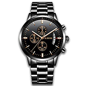 Watches for Men Fashion Stainless Steel Wrist Watch Luxury Brand LIGE Casual Black Analog Quartz Waterproof Chronograph