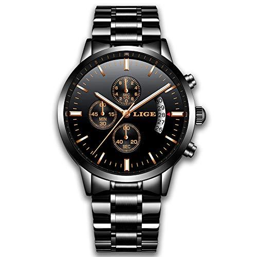 LIGE Chronograph Edelstahl Herrenuhr wasserdicht Sport schwarz Herren Business Armbanduhr männer