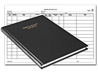 BookFactory Sample Receipt Log Book Sample Log Book - 168 Pages Black Cover Smyth Sewn Hardbound 8 7 8 x 13 1 2 LOG-168-SAM-01