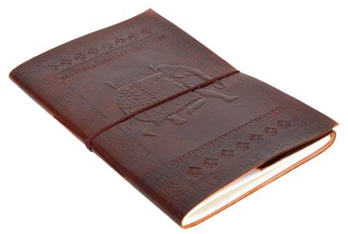 "Notizbuch Gusti Leder \""Beatrix\"" DIN B4   Echtes Leder   Handgeschöpftes Papier   Nachfüllbare Seiten   Recyclebar   Traditionelles Lederaccessoire Blanko - Motiv - Elefant - P3"