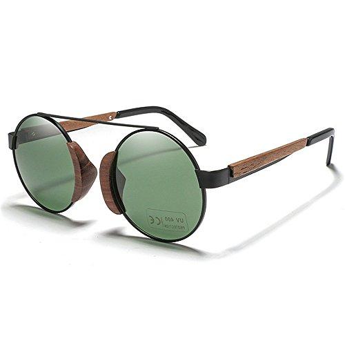 Ppy778 Vintage Bambus Sonnenbrille für Mann und Frau, polarisiertes Licht (Color : Green)