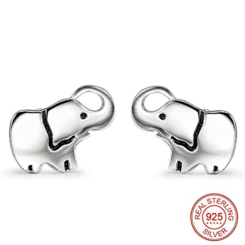 Pendientes Mujer Plata S925, BBYaki Serie Animal - Elefantes, Mejor Regalo Dar...