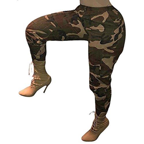 Pantalon Chino à Imprimé Camouflage,OverDose Femme Grande Taille Casual Slim Sport Jogging Taille Haute Cargo Hip Hop Trousers (38=Tag:M, Vert)