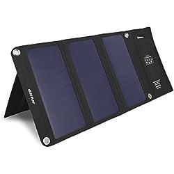 SNAN Chargeur Panneau Solaire 21W 5V / 2A Double Port USB avec Technologie Charge Rapide Chargeur USB Solaire Pliable pour iPhone, iPad, GPS, Smartphone, Tablet PC etc
