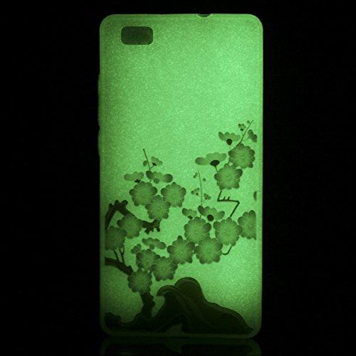 Coque iPhone SE/5S/5 Silicone Gel Housse [Avec Gratuit Protections D'écran],CaseHome [Nuit Lumineux Effet] Fluorescent Verte Lumière dans le Noir Ultra Fine Transparente avec Motif Mode Unique Ajustem Fleur de Prunier